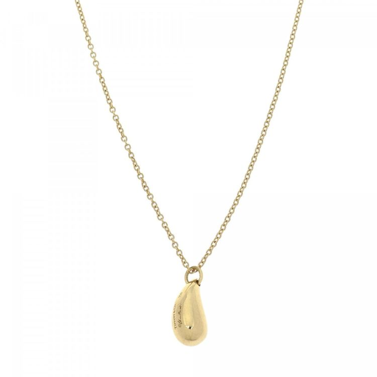 e478df36a Tiffany Elsa Peretti Teardrop Pendant Necklace 41cm 18K Yellow Gold ...