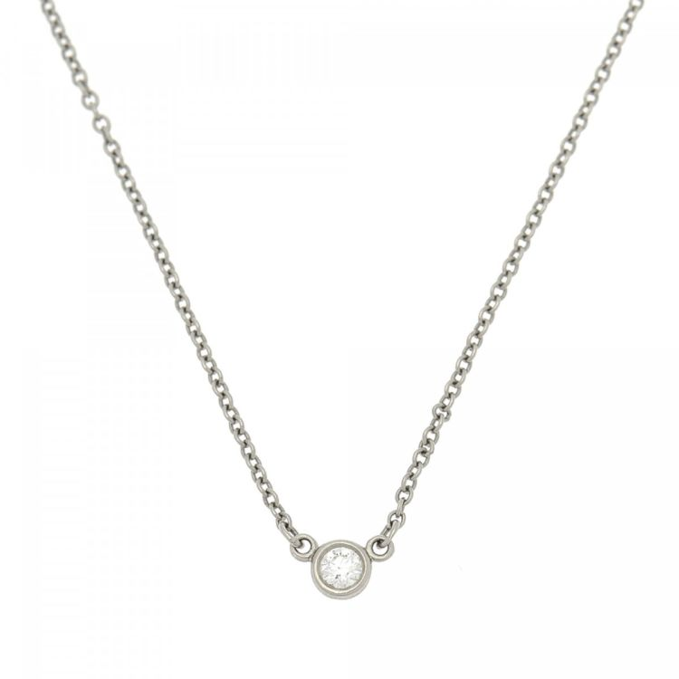 Tiffany elsa peretti diamonds by the yard pendant necklace 415cm tiffany elsa peretti diamonds by the yard pendant necklace 415cm platinum lxrandco pre owned luxury vintage aloadofball Gallery