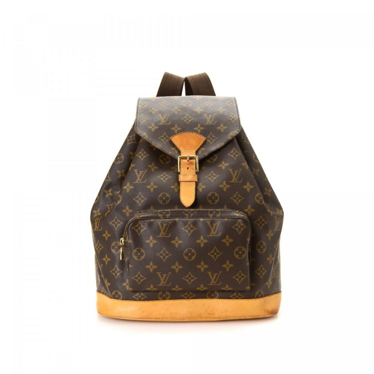 0c0a61304bdc ... guarantees the authenticity of this vintage Louis Vuitton Montsouris GM  backpack. This exquisite book bag in brown is made in monogram coated canvas .