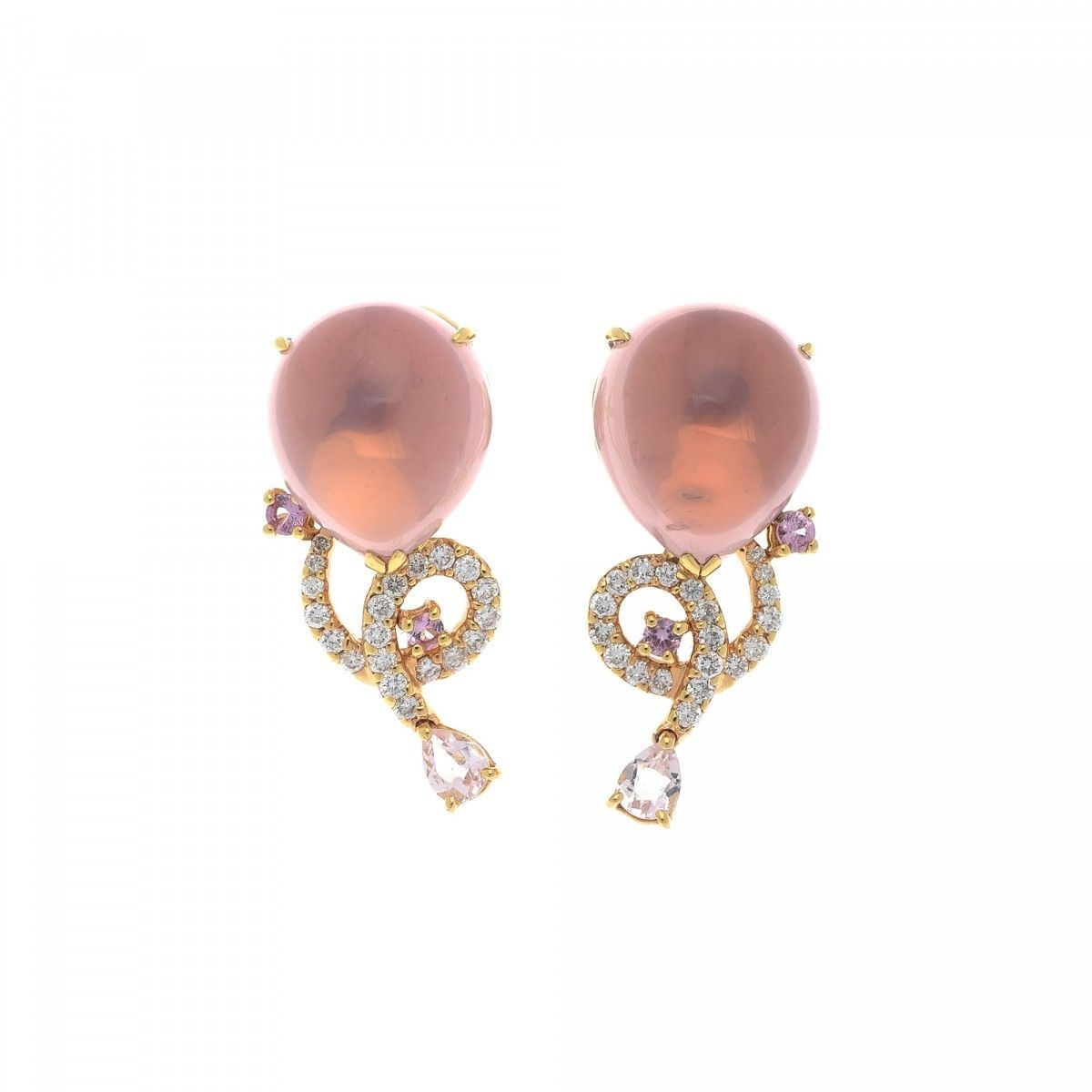 Estate Jewelry Colored Stone Diamond Earrings 18k Gold Lxrandco Pre Owned Luxury Vintage