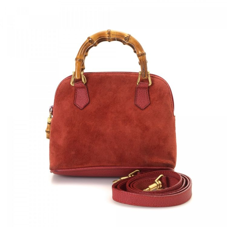 c9258097f1f Gucci Bamboo Handbag Suede Lxrandco Pre Owned Luxury Vintage