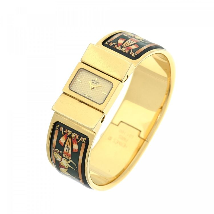 Hermès Loquet 20mm Gold Tone 18K Gold Plated Stainless Steel Watches