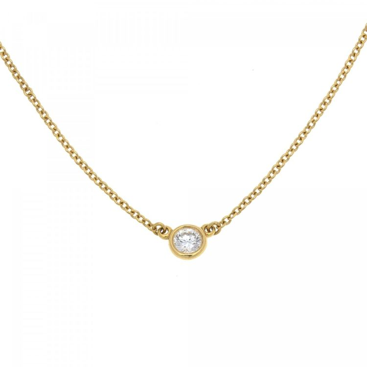 Tiffany elsa peretti diamonds by the yard pendant necklace 40cm 18k tiffany elsa peretti diamonds by the yard pendant necklace 40cm 18k gold and diamond lxrandco pre owned luxury vintage aloadofball Gallery