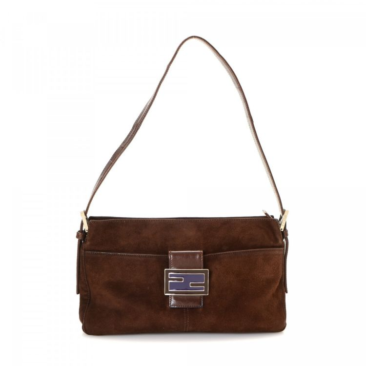 7db90f27a1 LXRandCo guarantees the authenticity of this vintage Fendi shoulder bag.  This chic bag was crafted in suede in brown. Due to the vintage nature of  this ...