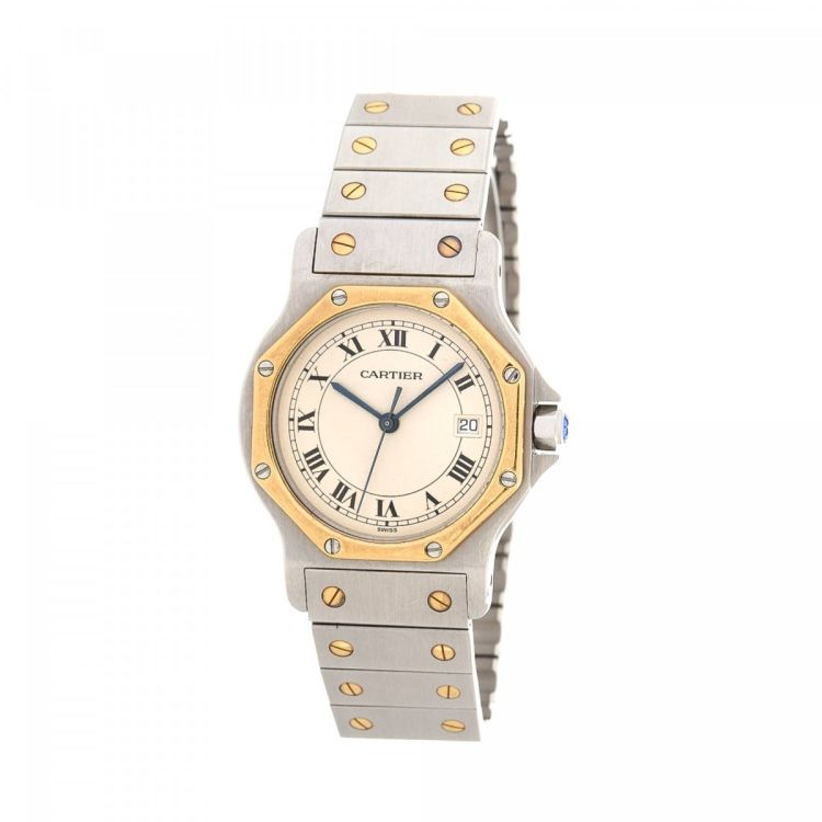 c8b61fcca42 The authenticity of this vintage Cartier Santos Octagon 187902 30mm watch  is guaranteed by LXRandCo. Crafted in stainless steel and gold plated  detail