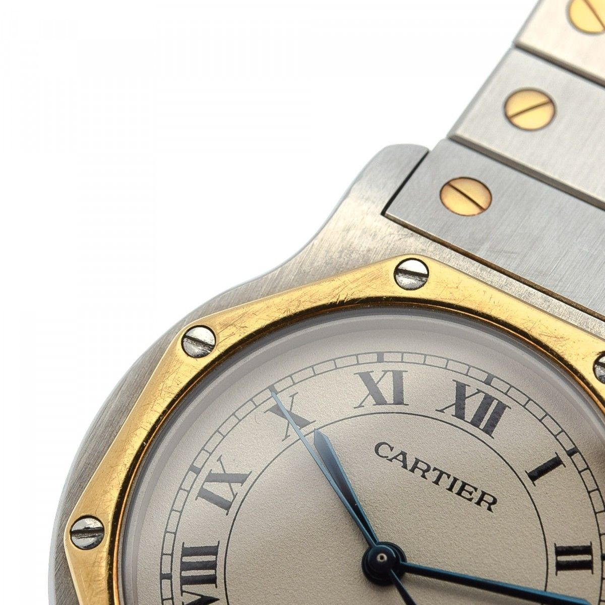 7004c0205aa Cartier Santos Octagon 187902 30mm Stainless Steel and Gold Plated ...