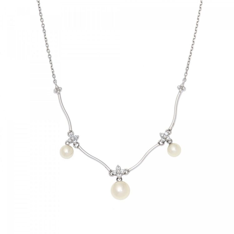 b51f8d5b5235 Estate Jewelry Mikimoto Pearl Diamond Necklace 40cm 18K White Gold ...