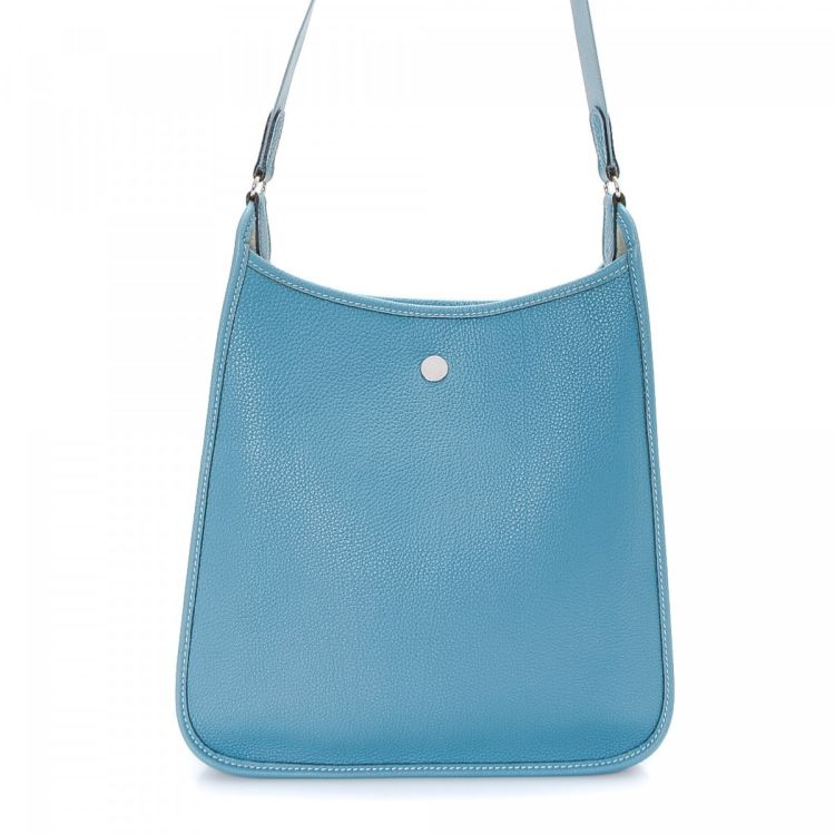 b4906c8c8c13 LXRandCo guarantees the authenticity of this vintage Hermès Vespa PM Bleu  Jean PHW shoulder bag. This iconic shoulder bag in blue jean is made in  togo calf.