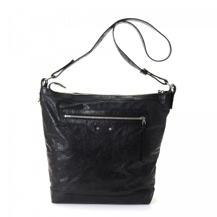 25c3385c95 ... vintage Balenciaga Day Crossbody Bag messenger   crossbody bag is  guaranteed by LXRandCo. This everyday saddle bag was crafted in lambskin in  black.