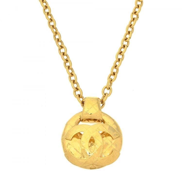 Chanel CC Logo Necklace 90cm Grand blue Gold Plated on Brass Necklaces
