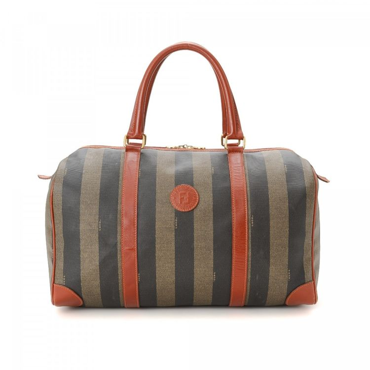 8bc969f5c8c2 The authenticity of this vintage Fendi travel bag is guaranteed by LXRandCo.  Crafted in pequin coated canvas