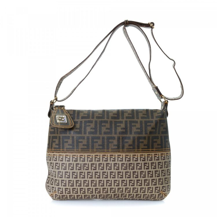6171d8f1c64a LXRandCo guarantees the authenticity of this vintage Fendi Zucca Zucchino  shoulder bag. This beautiful bag comes in brown coated canvas.