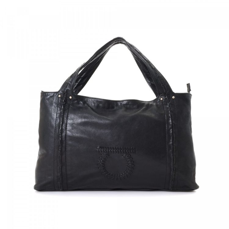 250b10ada7 LXRandCo guarantees the authenticity of this vintage Ferragamo Bag tote.  This exquisite tote comes in beautiful black patent leather.