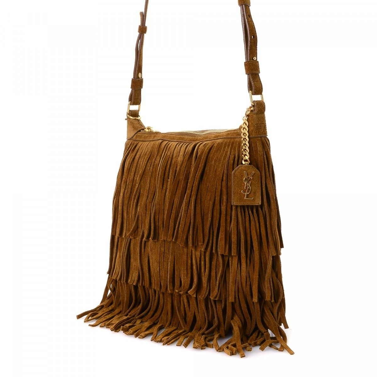 Yves Saint Laurent Fringe Two Way Bag Suede - LXRandCo - Pre-Owned ... 30c2656ba070f