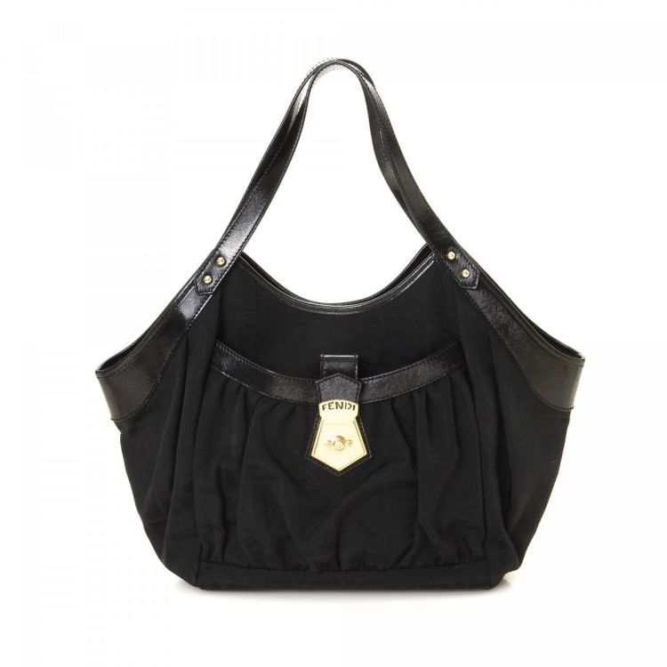cd690de790fb LXRandCo guarantees this is an authentic vintage Fendi Chef Tote Bag  shoulder bag. This beautiful satchel in black is made in zucca canvas.