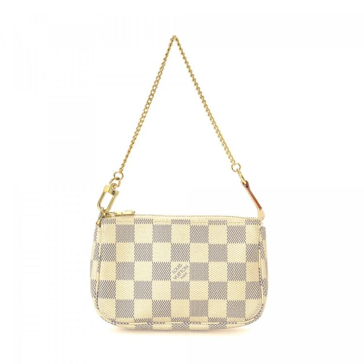 2a4aaa824679 ... vintage Louis Vuitton Mini Pochette Accessoires vanity case   pouch.  This lovely makeup case in beautiful white is made in damier azur coated  canvas.