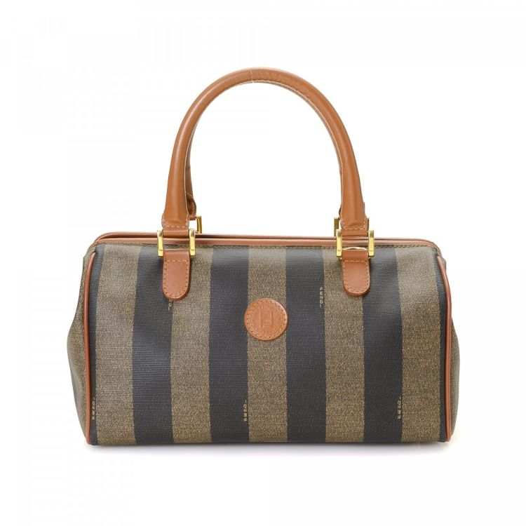 695d3a3312 LXRandCo guarantees the authenticity of this vintage Fendi handbag. Crafted  in pequin coated canvas