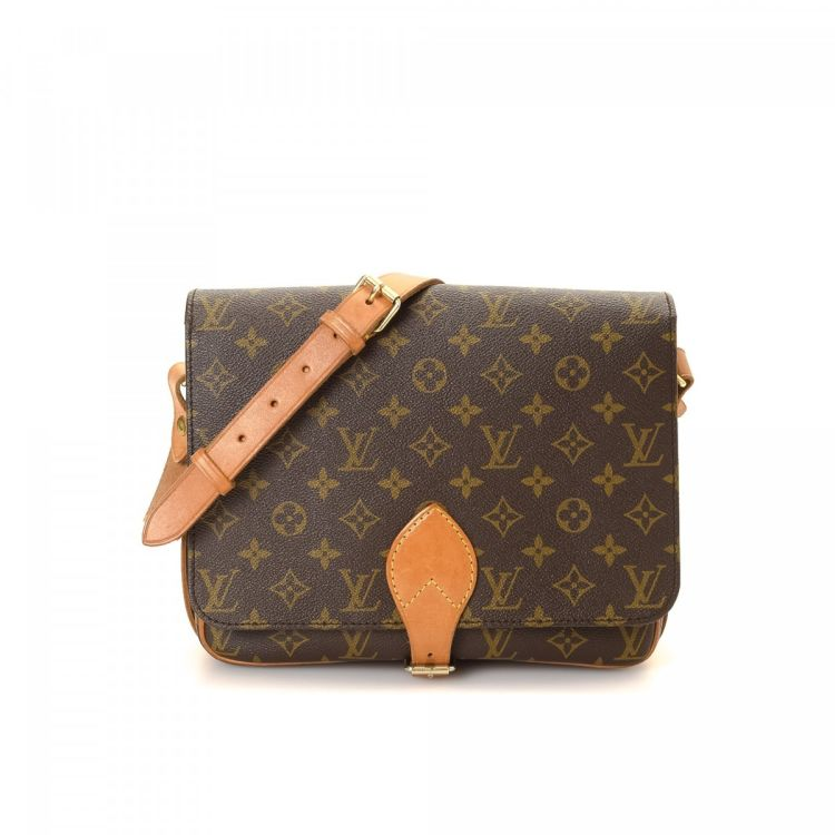 79003cc38ebd ... authenticity of this vintage Louis Vuitton Cartouchiere GM messenger   crossbody  bag. This iconic crossbody in brown is made in monogram coated canvas.