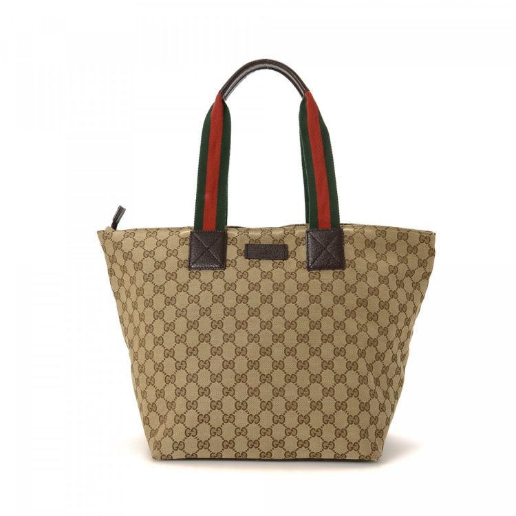 3a00a9bf852 Gucci GG Canvas Web Tote GG Canvas - LXRandCo - Pre-Owned Luxury Vintage