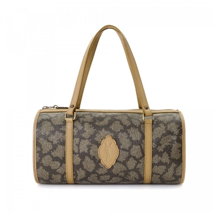 a70ec093d7e LXRandCo guarantees this is an authentic vintage Yves Saint Laurent handbag.  Crafted in coated canvas, this everyday handbag comes in beige.