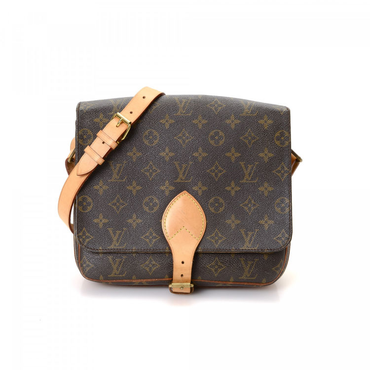 c86c188908c1 ... vintage Louis Vuitton Cartouchiere GM messenger   crossbody bag. This  signature saddle bag was crafted in monogram coated canvas in beautiful  brown.