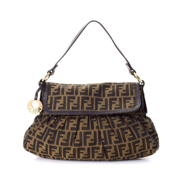 d15259503cbc The authenticity of this vintage Fendi Chef shoulder bag is guaranteed by  LXRandCo. Crafted in zucca canvas