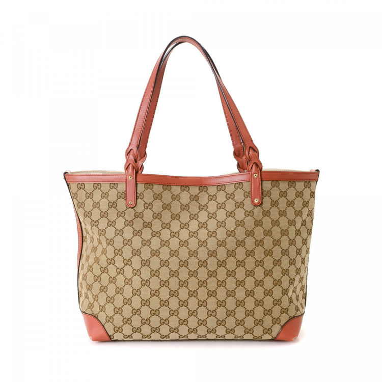 7c7a1f83d17fa8 LXRandCo guarantees this is an authentic vintage Gucci Craft tote. Crafted  in gg canvas, this elegant tote bag comes in beige. Due to the vintage  nature of ...
