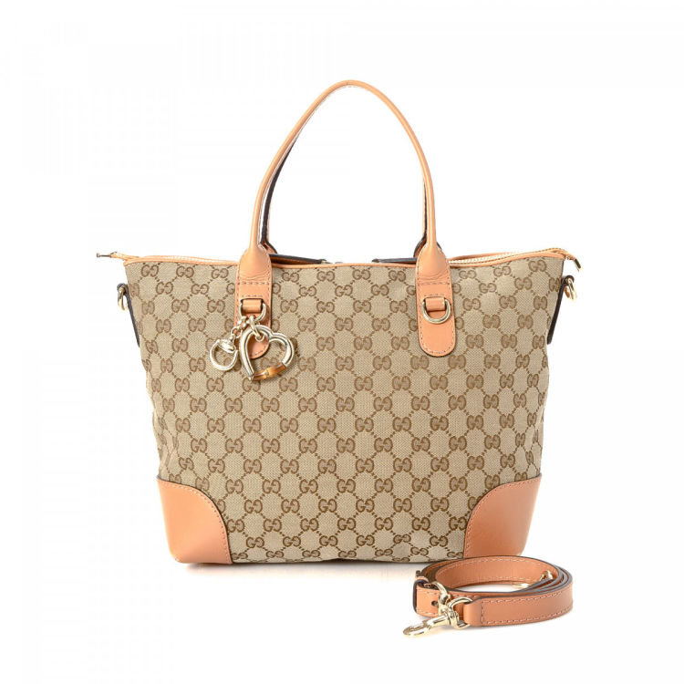 8e6d87222a35 Gucci GG Canvas Bamboo Heart Two Way Bag GG Canvas - LXRandCo - Pre-Owned  Luxury Vintage