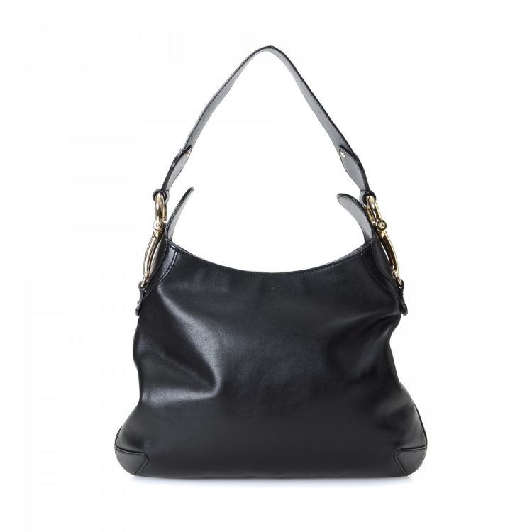 942c712e619 LXRandCo guarantees this is an authentic vintage Gucci Hobo Bag shoulder bag.  This chic bag was crafted in leather in black. Due to the vintage nature of  ...