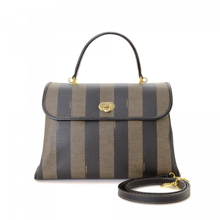 a06132621f4f LXRandCo guarantees the authenticity of this vintage Fendi handbag. Crafted  in pequin coated canvas