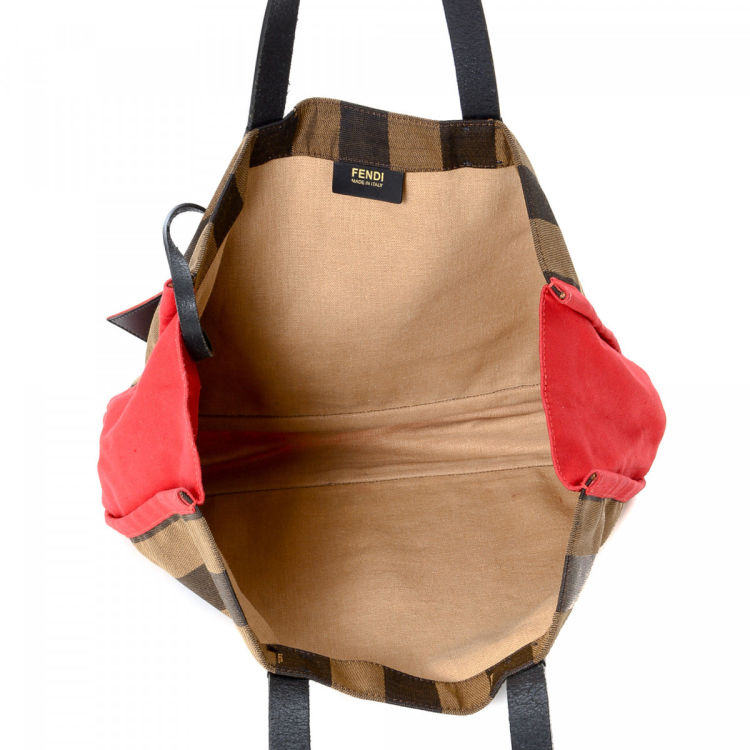 214be43b2b06 The authenticity of this vintage Fendi Bag tote is guaranteed by LXRandCo.  This practical tote bag in brown is made in pequin canvas.