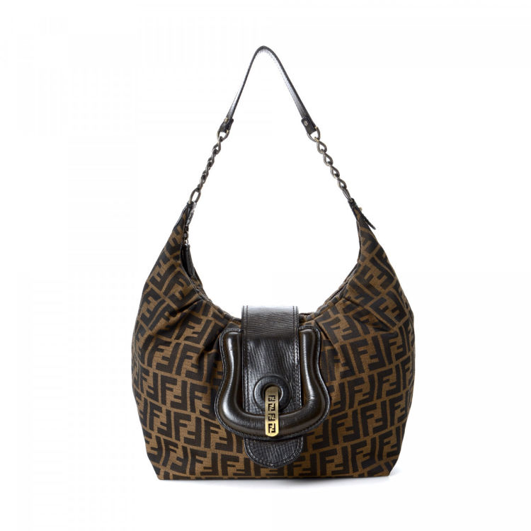 f48c68fa85 The authenticity of this vintage Fendi B Hobo Bag shoulder bag is  guaranteed by LXRandCo. This chic bag was crafted in zucca canvas in  beautiful brown.