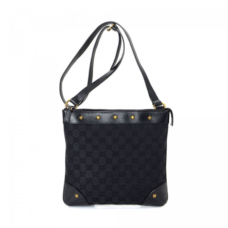 7dc8681e119 Gucci GG Studded Crossbody Bag GG Canvas - LXRandCo - Pre-Owned ...