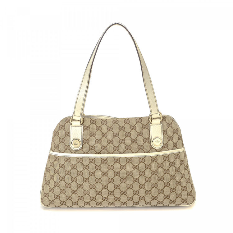 b75ef0a7710a Gucci GG Canavas Charmy Tote Bag GG Canvas - LXRandCo - Pre-Owned Luxury  Vintage