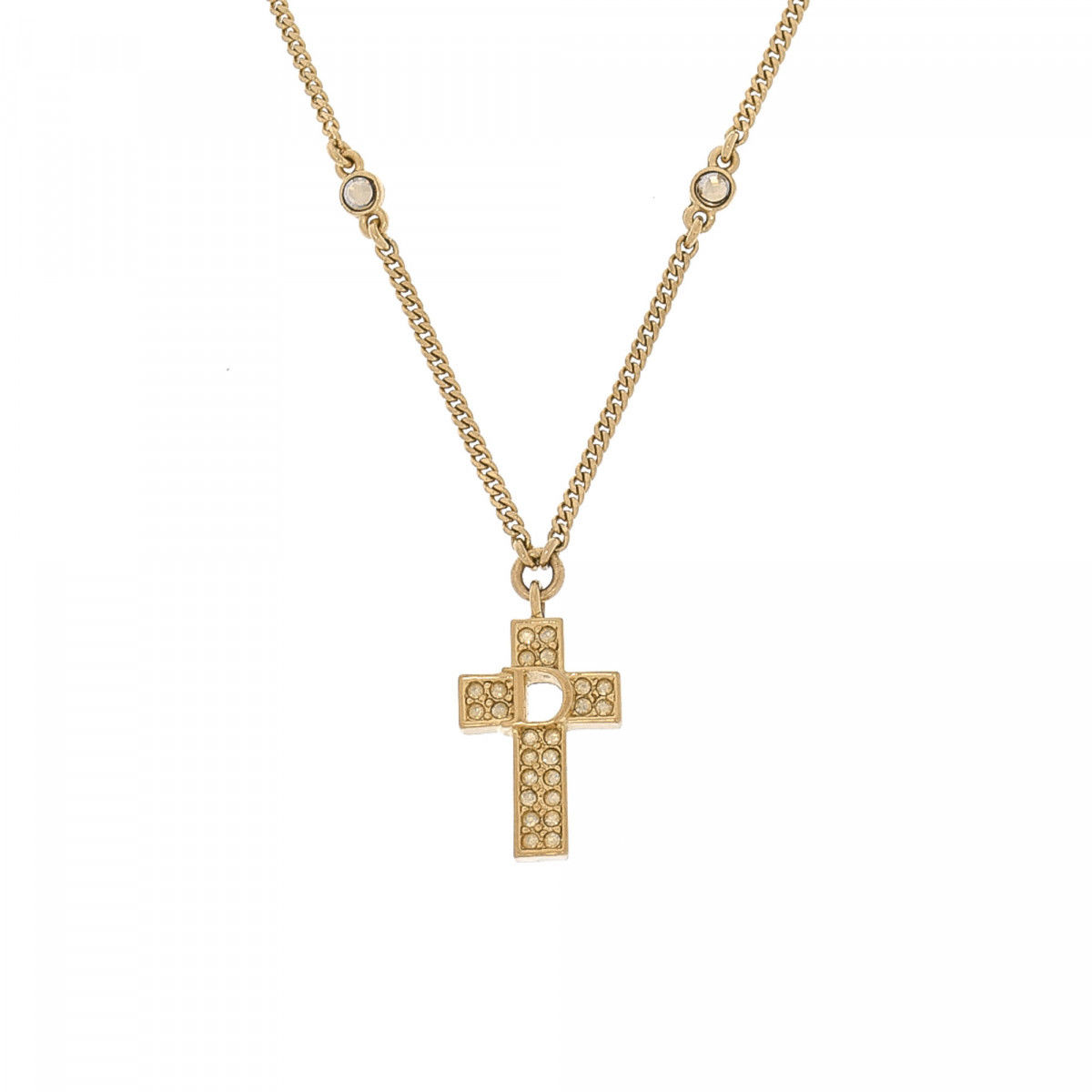 dior cross pendant necklace gold plated on brass lxrandco pre