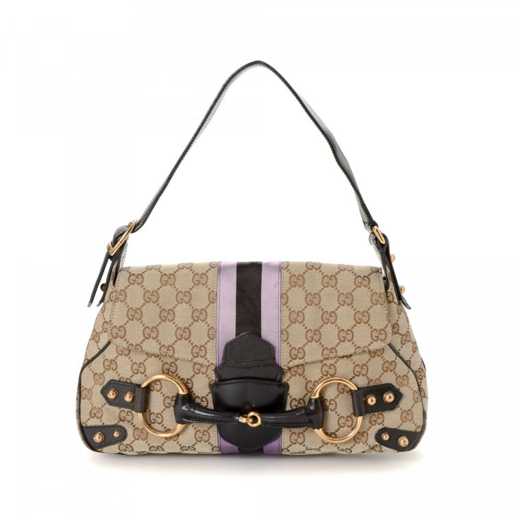 368cdf3978d5b0 Gucci Horsebit Shoulder Bag GG Canvas - LXRandCo - Pre-Owned Luxury ...