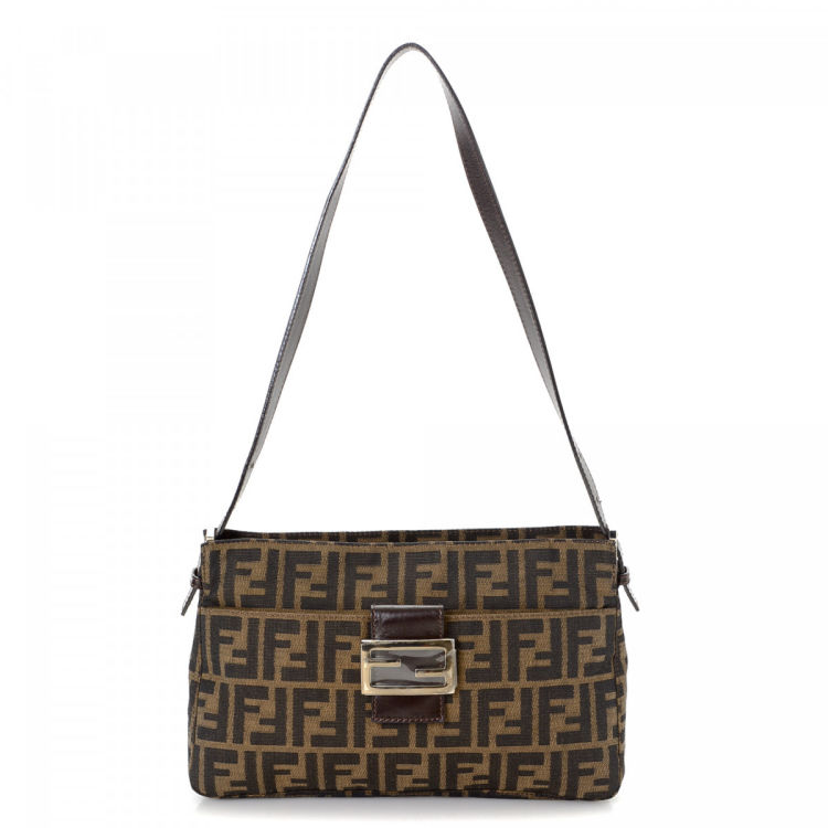 fcdbe9cd8bfd LXRandCo guarantees the authenticity of this vintage Fendi shoulder bag.  This sophisticated satchel was crafted in zucca canvas in brown.