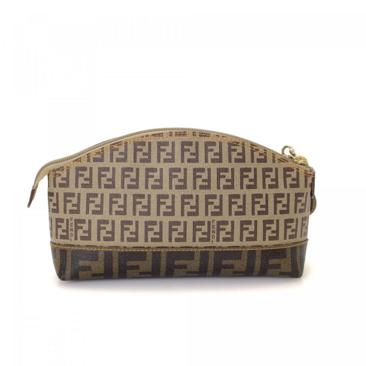 LXRandCo guarantees the authenticity of this vintage Fendi Cosmetic Pouch  vanity case   pouch. This lovely cosmetic case was crafted in zucchino  coated ... 1c5e9e8521b17