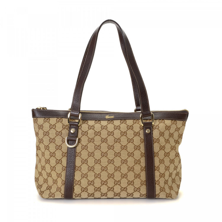 b4109967948 LXRandCo guarantees the authenticity of this vintage Gucci Abbey tote.  Crafted in gg canvas