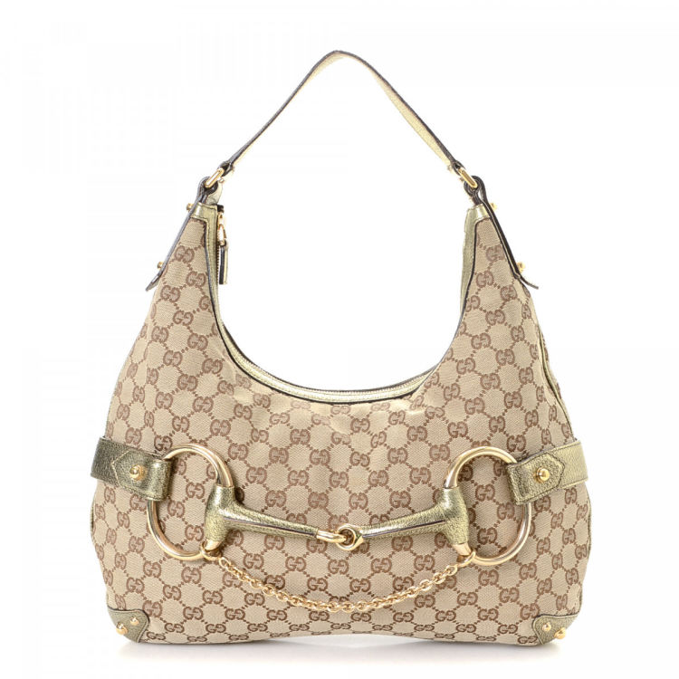 e155436d4 Gucci GG Canvas Horsebit Hobo Bag GG Canvas - LXRandCo - Pre-Owned ...