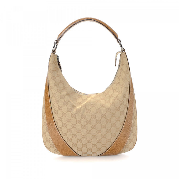 878f30f46b07 LXRandCo guarantees this is an authentic vintage Gucci Hobo shoulder bag.  Crafted in gg canvas, this refined satchel comes in beige.