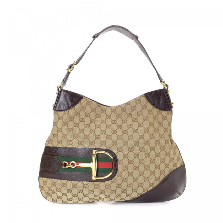 929fa841cd6d14 Gucci Horsebit Hobo Bag GG Canvas - LXRandCo - Pre-Owned Luxury Vintage