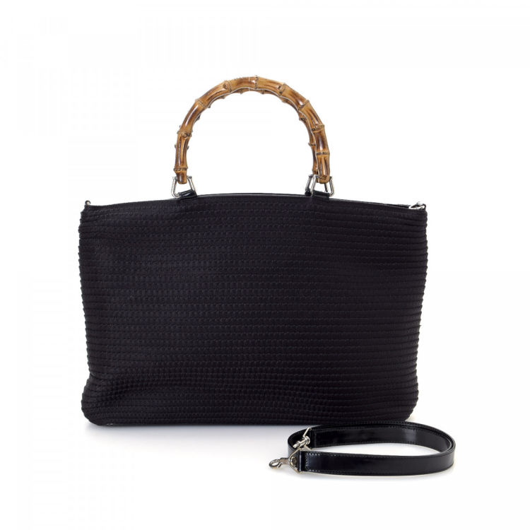1570d975040 LXRandCo guarantees the authenticity of this vintage Gucci Bamboo Two Way  Bag handbag. This iconic handbag in beautiful black is made of canvas.