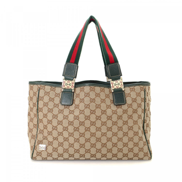 3aefadc65b17 Gucci GG Canvas Web Tote GG Canvas - LXRandCo - Pre-Owned Luxury Vintage