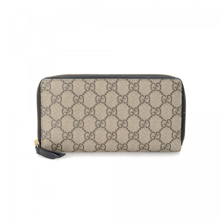 554ded63768 Gucci GG Supreme Zip Around Wallet GG Supreme Coated Canvas ...