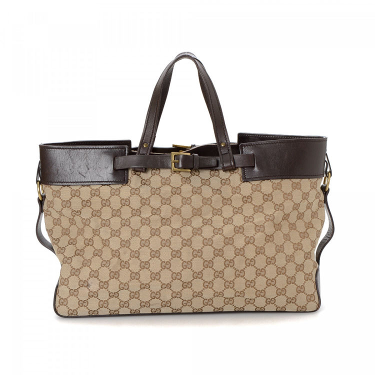 7f4c0ca1c Gucci GG Canvas Large Tote Bag GG Canvas - LXRandCo - Pre-Owned ...