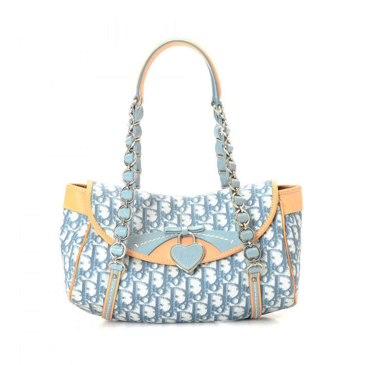 94a9451eab8f LXRandCo guarantees the authenticity of this vintage Dior shoulder bag.  Crafted in trotteur coated canvas