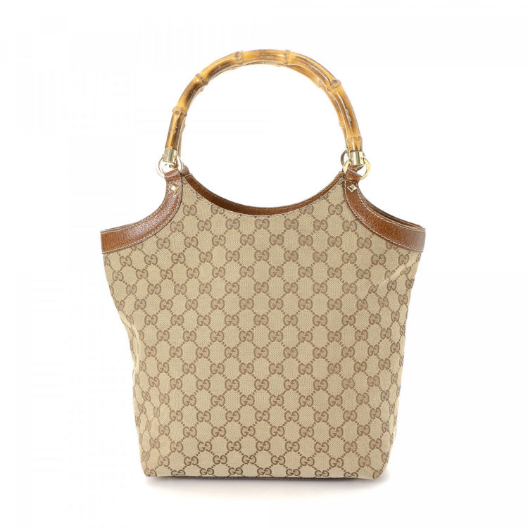 79e6d0a5aa36f7 Gucci GG Canvas Bamboo Shoulder Bag GG Canvas - LXRandCo - Pre-Owned ...