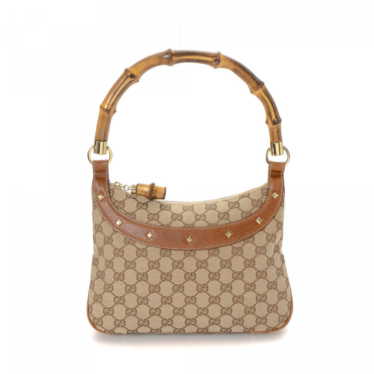 2d2770b0b825 Gucci GG Canvas Bamboo Shoulder Bag GG Canvas - LXRandCo - Pre-Owned ...