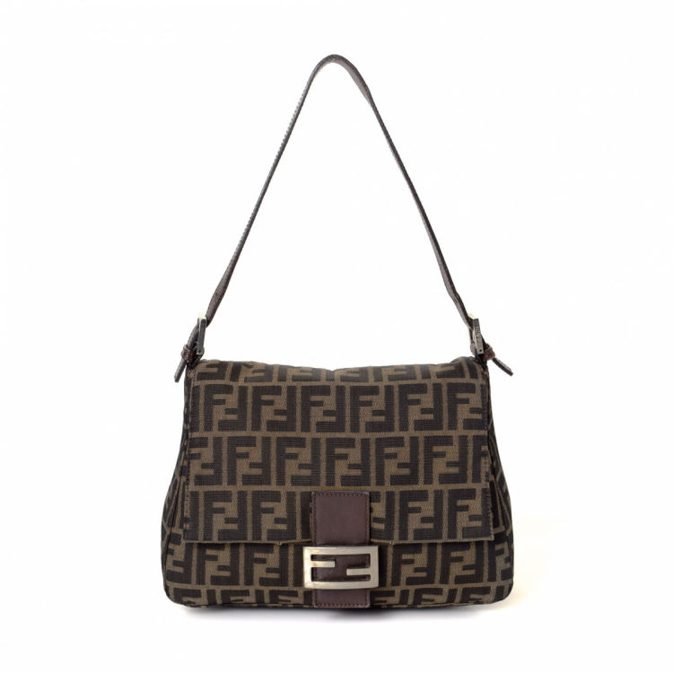 940e15c8e8c8 LXRandCo guarantees this is an authentic vintage Fendi Mama Baguette  shoulder bag. This everyday bag in brown is made in zucca canvas.